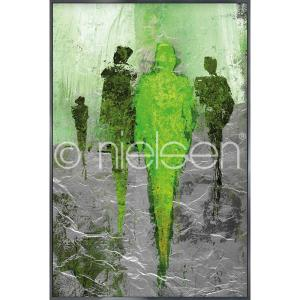 "Gerahmtes Bild ""Abstract Figures Green"" mit Alurahmen Alpha"