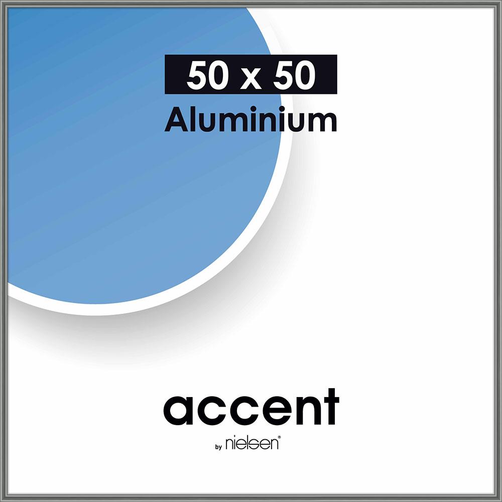 Alurahmen Accent 50x50 cm | Stahlgrau | Normalglas