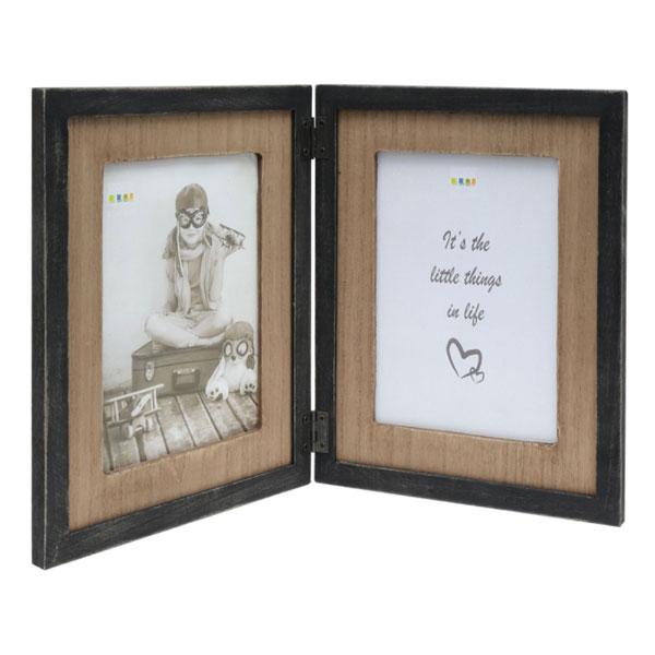 Doppel-Fotorahmen mit Holzpassepartout