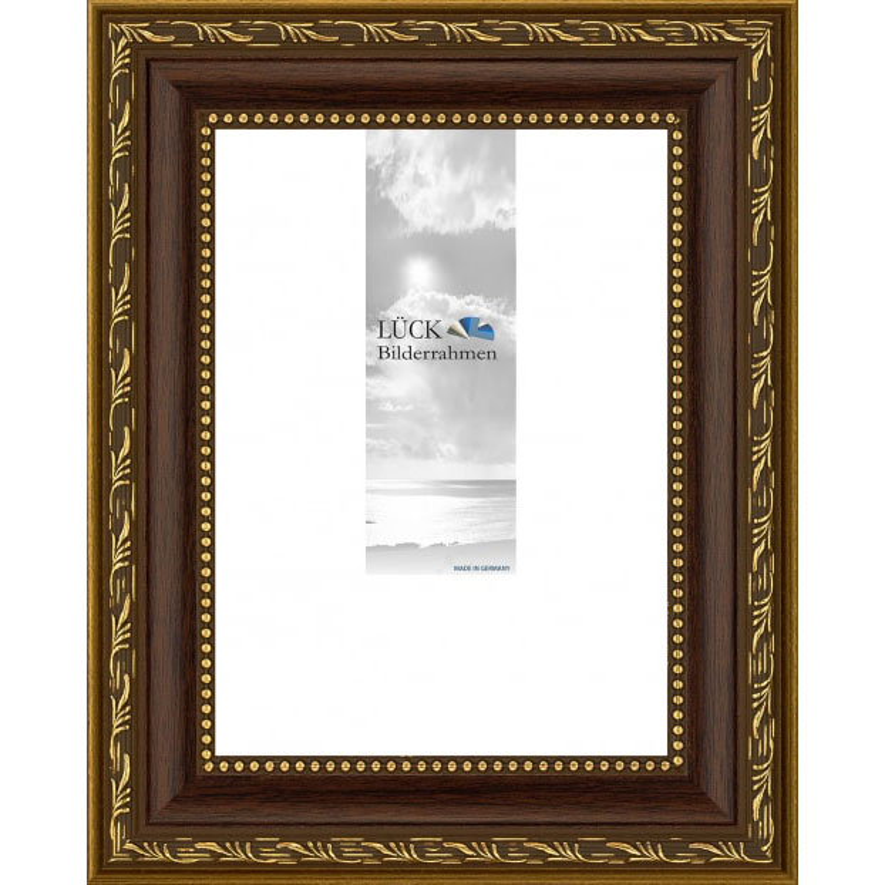 Barock-Bilderrahmen Fichtenau 28x35 cm   Nuss   Antireflexglas