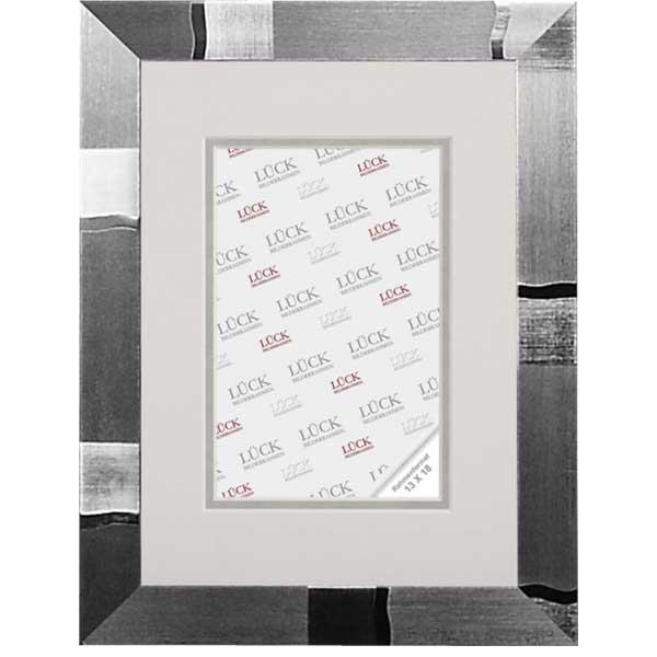 lueck kunststoff bilderrahmen schramberg mit passepartout 40x60 cm 30x45 cm silber design. Black Bedroom Furniture Sets. Home Design Ideas