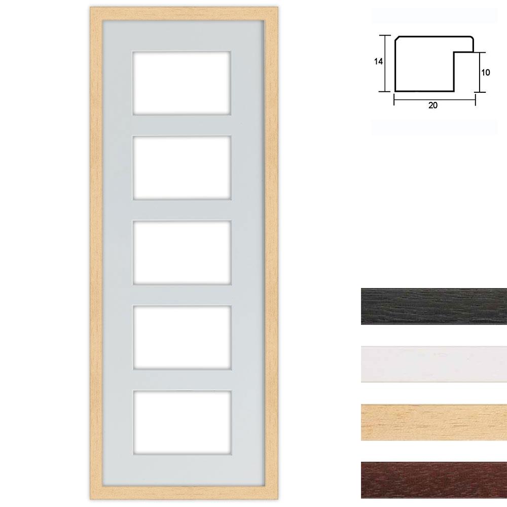 5er Galerierahmen aus Holz in 25x70 cm