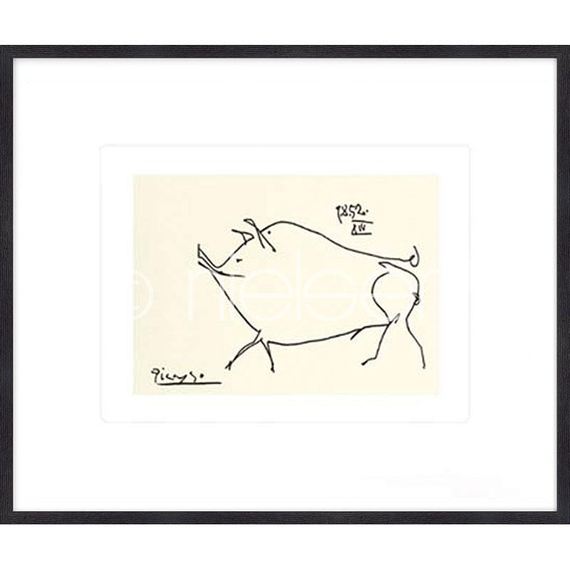"""Gerahmtes Bild """"Le petit cochon Picasso"""" mit Holzrahmen Quadrum"""