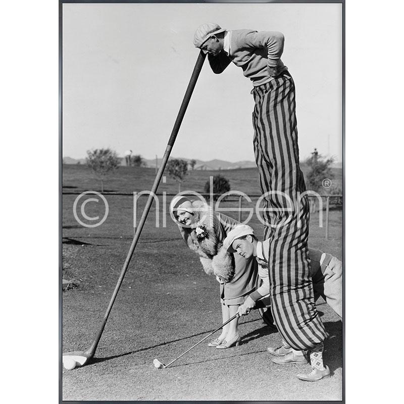 """Gerahmtes Bild """"Golfer"""" mit Alurahmen Alpha"""